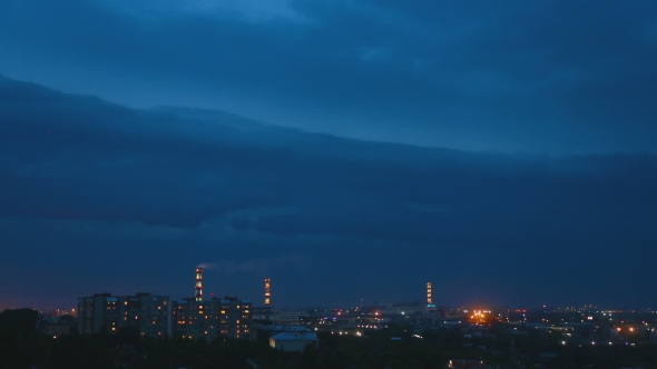 VideoHive Thunderstorm Over Night City 17017687