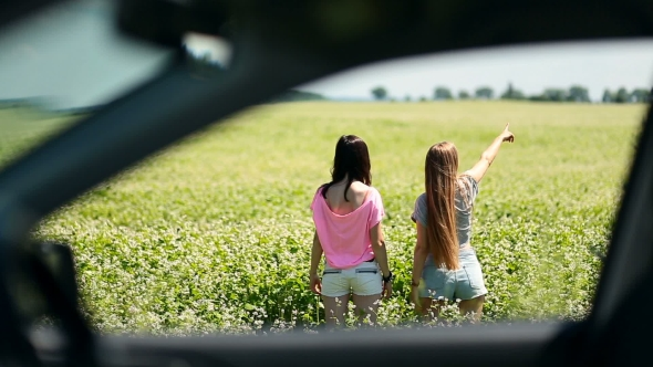 VideoHive View Through The Side Window Of Females In Field 17018205