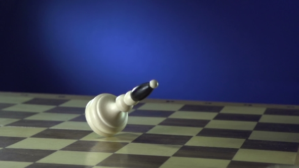 VideoHive Chess Pieces Falling Down On Blue 17018554