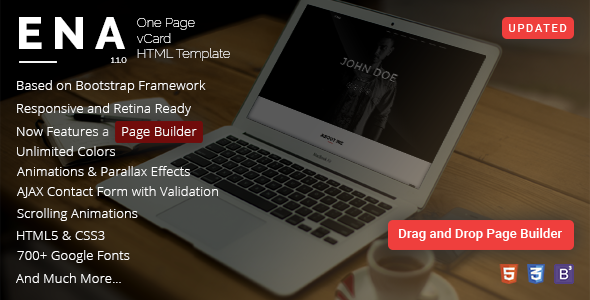 ENA - One Page vCard Template with Page Builder