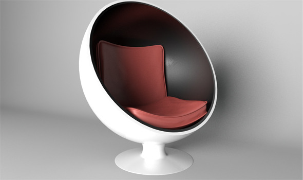 Sphere Chair With Modern Seat Rander In Mantal Ray