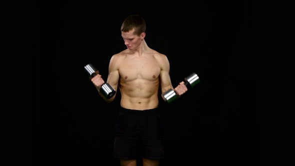 Download Man Was In The Gym Of The Muscles. Exercises With Kettlebells. Black nulled download