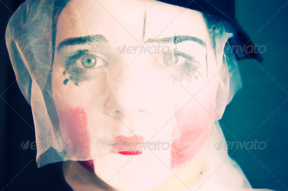 Portrait of the sad mime in a veil - Stock Photo - Images