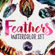 Watercolor Boho Feathers DIY Set