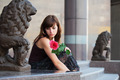 Sad Young Woman With A Rose - PhotoDune Item for Sale