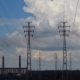 Electrical Pylons With Clouds.