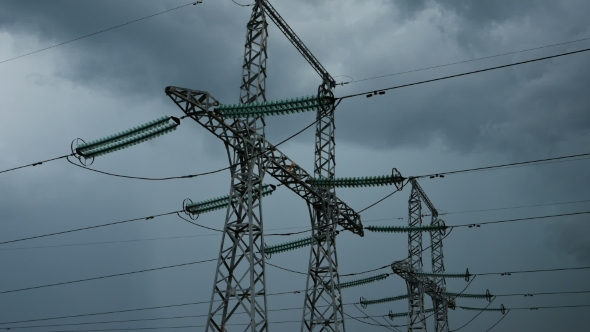 VideoHive The Movement Of Clouds Over Power Poles 17036124