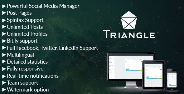 Triangle - Facebook, Twitter, LinkedIn Social Media Manager