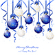 Blue and White Christmas Balls with Tinsel
