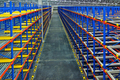Warehouse  shelving Inside view of storage metal, pallet racking system