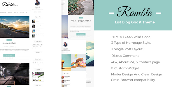 Ramble-List - A Responsive Ghost Blog Theme