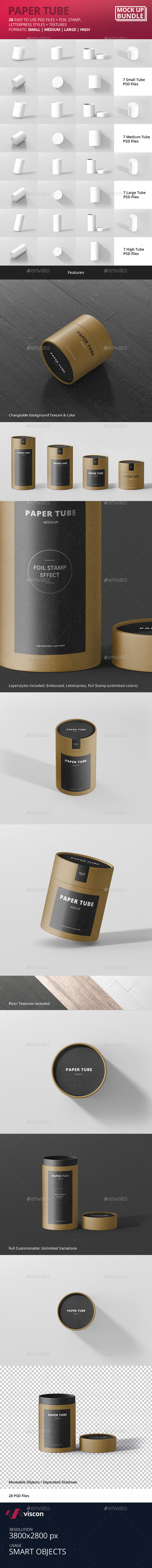 Paper Tube Packaging Mock-Up Bundle