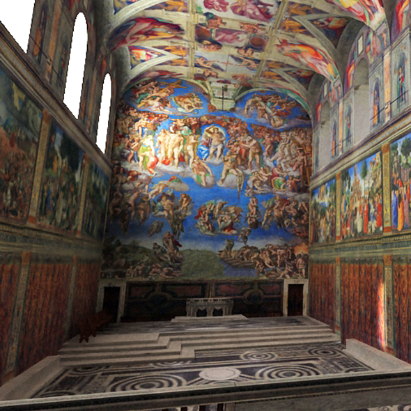 Sistine Chapel Interior Low Poly - 3DOcean Item for Sale