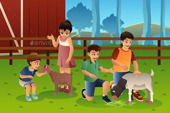Kids in a Petting Zoo