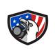 Bald Eagle Lifting Kettleball USA Flag Shield Retro