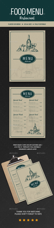 Vintage Menu Restaurant