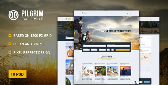 Pilgrim — Travel Agency, Tour Operator, Travel Booking PSD Template