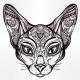 Vintage Ornate Cat Head with Tribal Ornaments