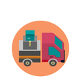 Delivery Lorry Driving Fast Design Flat