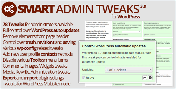 Smart Admin Tweaks 3.9.3 - WordPress Plugin