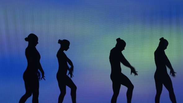 Download Silhouette Of Sexy Dancers Who Perform Acrobatic Stunts nulled download