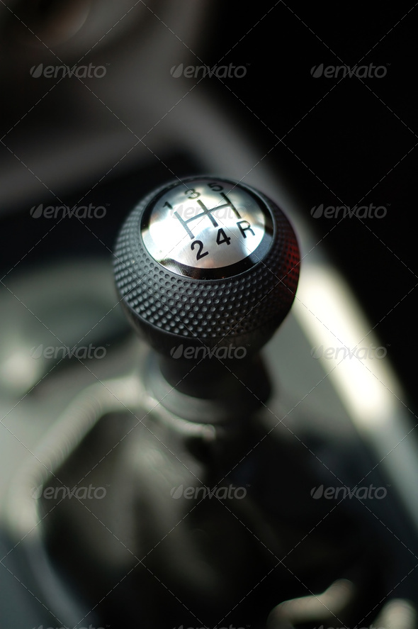 Gear stick of sportive car - Stock Photo - Images