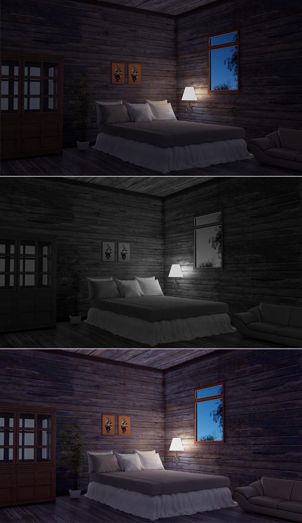 3DOcean Bedroom Model Night 17087539