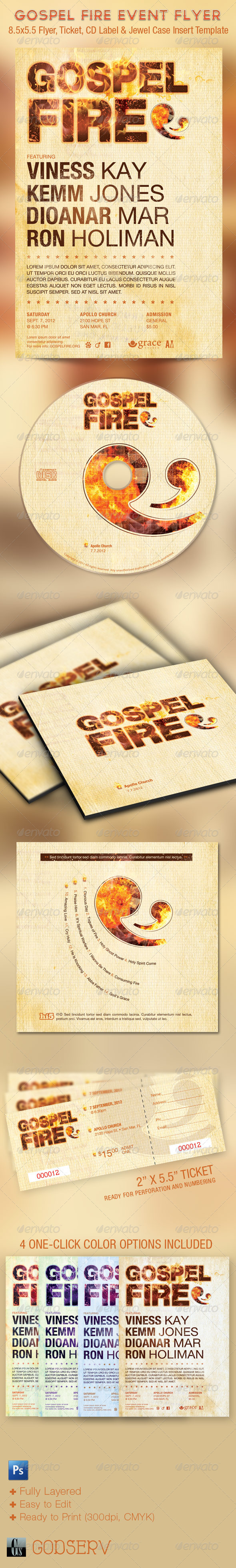 GraphicRiver Gospel Fire Church Flyer Ticket and CD Template 1699257