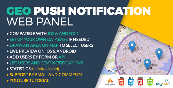 Geo Push Web Panel iOS & Android