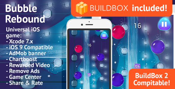 BuildBox Game Template. Bubble Rebound: iOS, Easy Reskin, AdMob & Chartboost, Remove Ads IAP - CodeCanyon Item for Sale