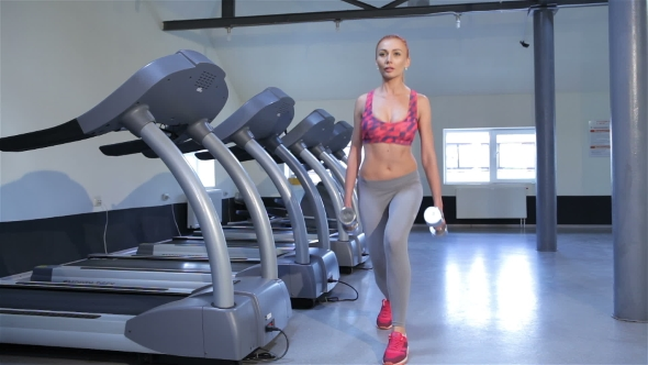 Download Woman Does Step-up Exercise At The Fitness Centre nulled download