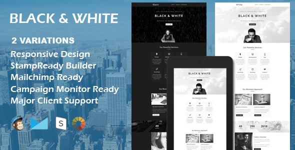 BLACK & WHITE - Multipurpose Responsive Email Template + Stamp Ready Builder