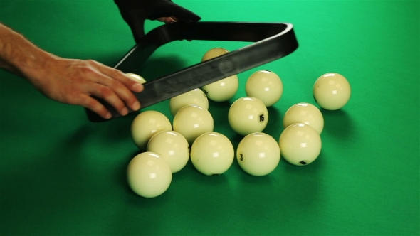 Download Billiard Balls Arranged In a Triangle. Green Table. nulled download