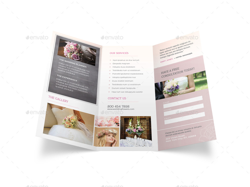 Wedding planner trifold brochure by mike pantone for Wedding planner brochure template