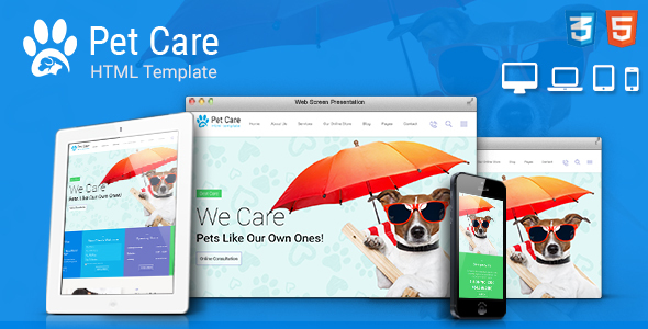 Pet Care - Pet Shop, Veterinary Responsive Site Template