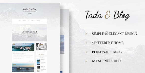 Tada & Blog - Personal Blog PSD