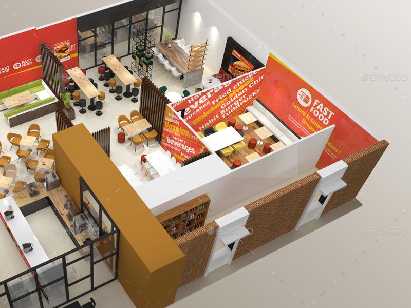 restaurant fast food outlet mockups by wutip graphicriver. Black Bedroom Furniture Sets. Home Design Ideas