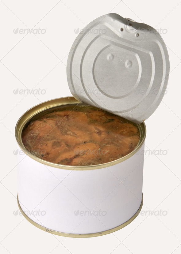 open tin can with fish - Stock Photo - Images