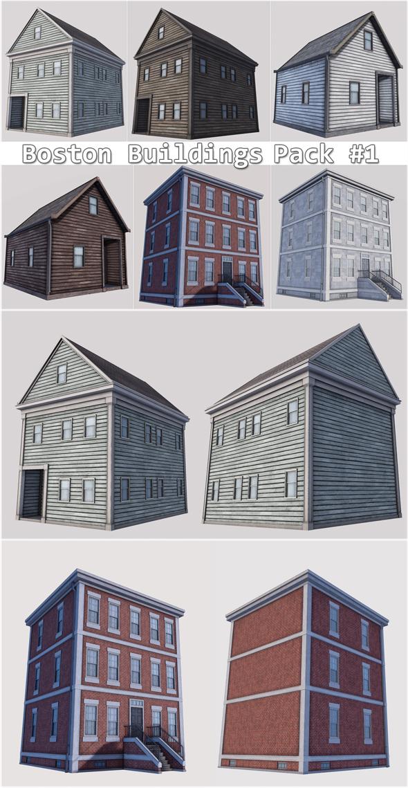 Boston Buildings Pack 01 - 3DOcean Item for Sale