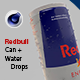 Redbull energy can with water drops