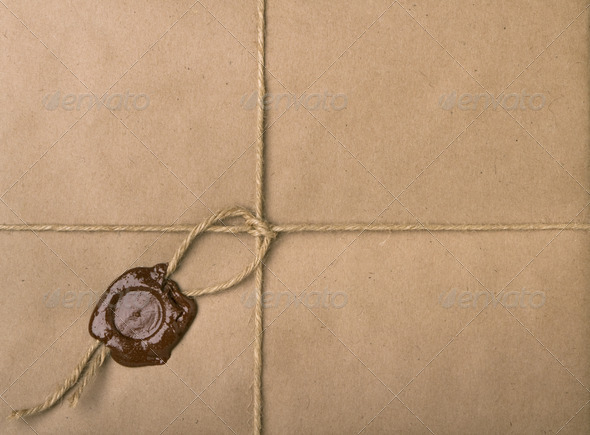 parcel with a rope and wax - Stock Photo - Images