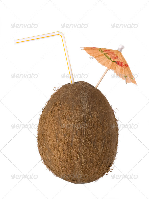 coconut drink, cocos with a straw and  - Stock Photo - Images