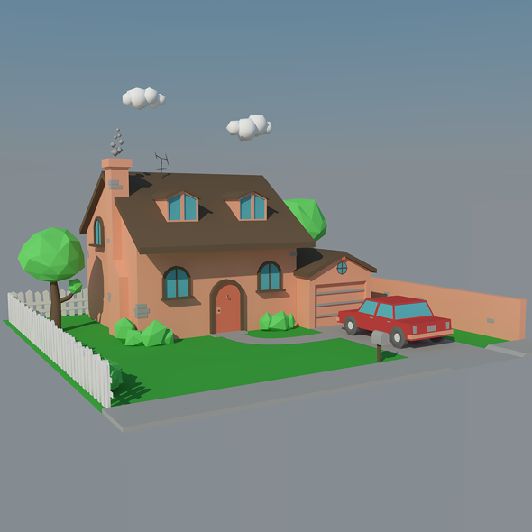 Low Poly House & Car - 3DOcean Item for Sale