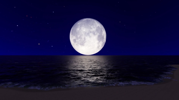 Full Moon Over The Sea By Lumionfootage Videohive