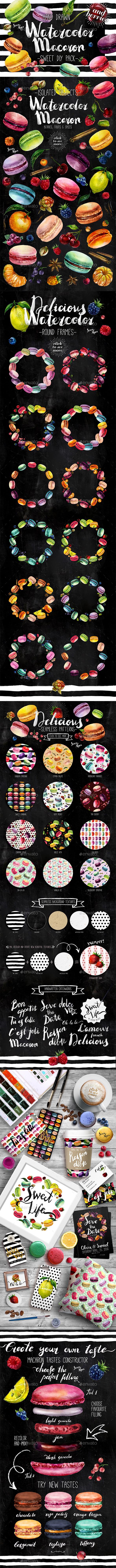Delicious Macarons Watercolor Set
