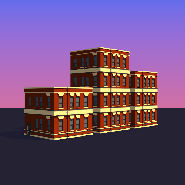 3DOcean Low Poly Buildings 001 17126620