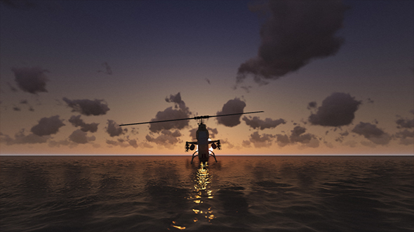 Download Military Helicopter Hovering Over Sea At Sunset nulled download