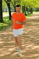 Young man jogging in nature