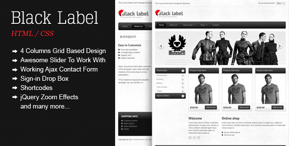 ThemeForest Black Label Premium Shop Template 1186470