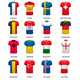 Collection of Various Soccer Jerseys and Flags